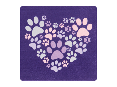 Absorbent Stone Coaster - Heart With Paws