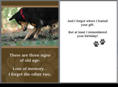 Birthday Pet Greeting Card - Buried Gift