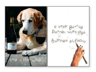 Birthday Pet Greeting Card - Like A Fine Wine
