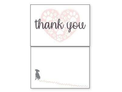 Thank You Pet Greeting Card - Heart/Paws Blank