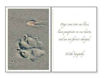 Pet Sympathy Greeting Card - Paw Prints On Our Hearts