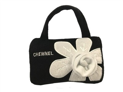 Black Chewnel Bag With White Flower Dog Toy