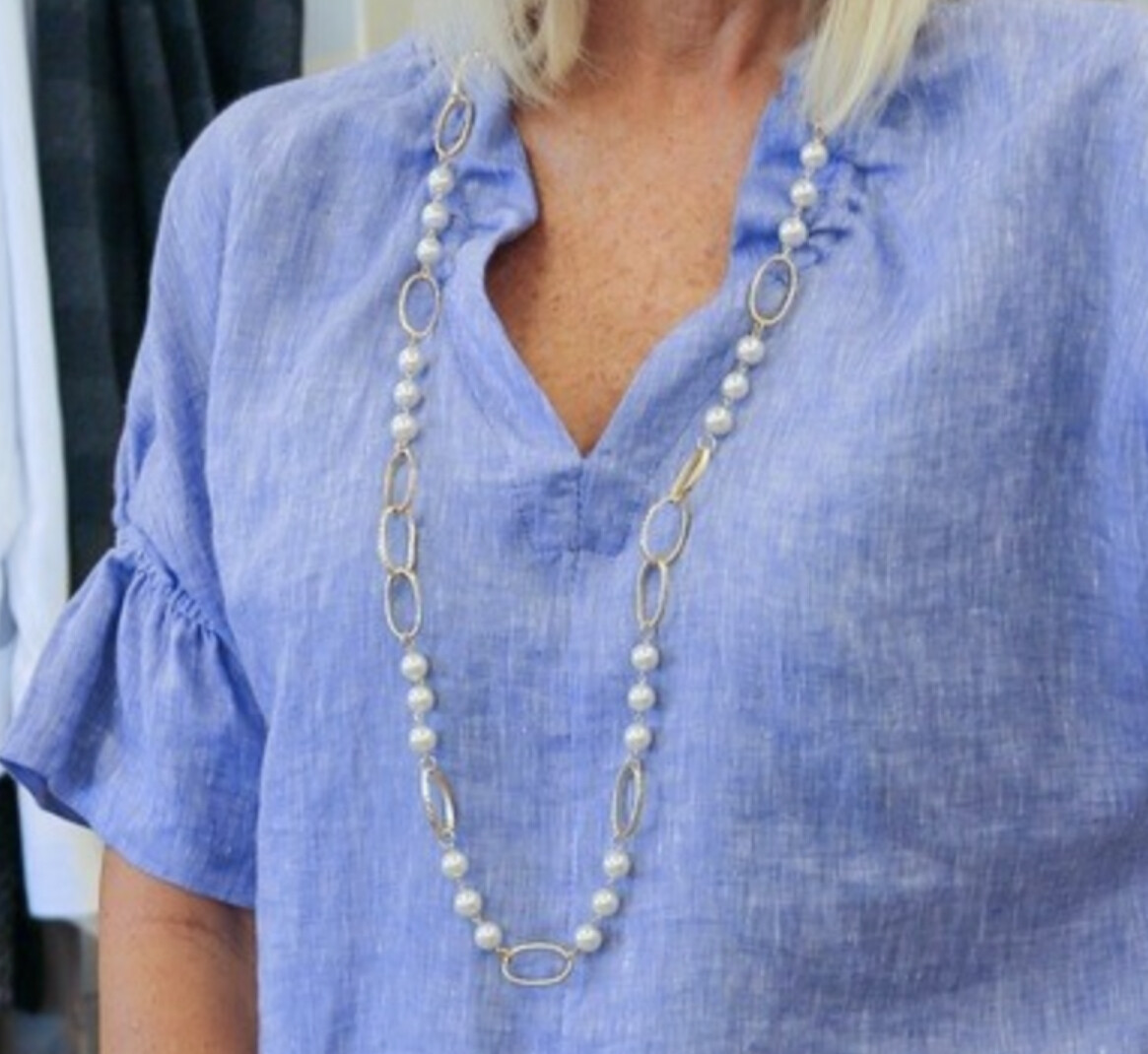 Be Je Designs Long Pearl Looped Necklace