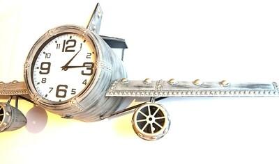 Flugzeug Uhr 1,60 cm Breit aus Metall zum aufhängen