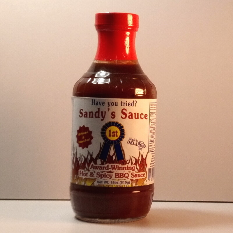 Sandy's Sauce - Hot and Spicy BBQ Sauce - 18oz bottle
