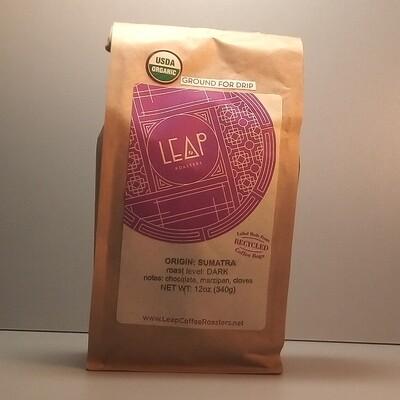 Leap Coffee (Certified Organic) - Sumatra (Dark) - 12 oz. bag