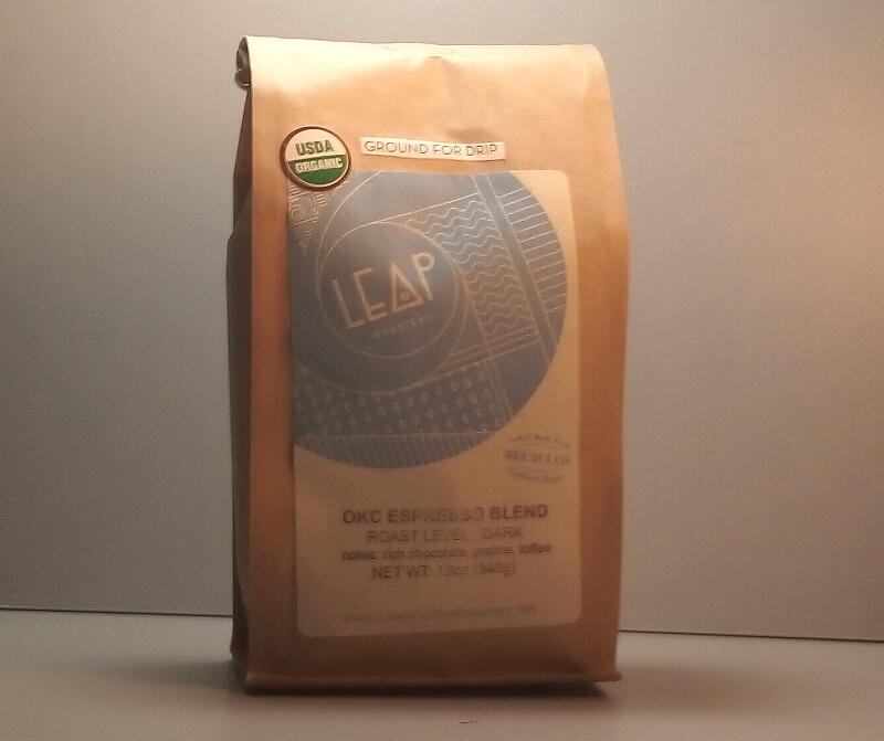 Leap Coffee (Certified Organic) - OKC Espresso Blend (Dark) - 12 oz. bag