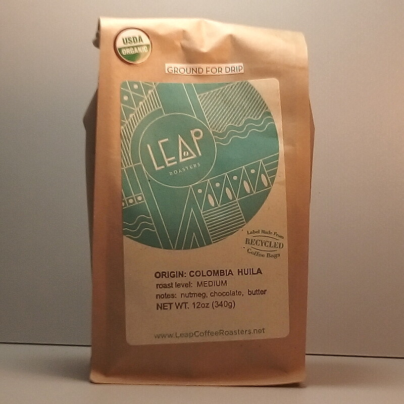 Leap Coffee (Certified Organic) - Colombia (Medium) - 12 oz. bag