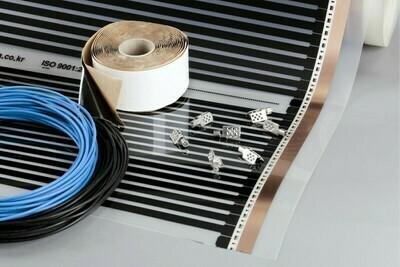 BASIC KIT 150W/sq m, width 50 and 100cm, Underfloor Heating Film for under Laminate & Wood