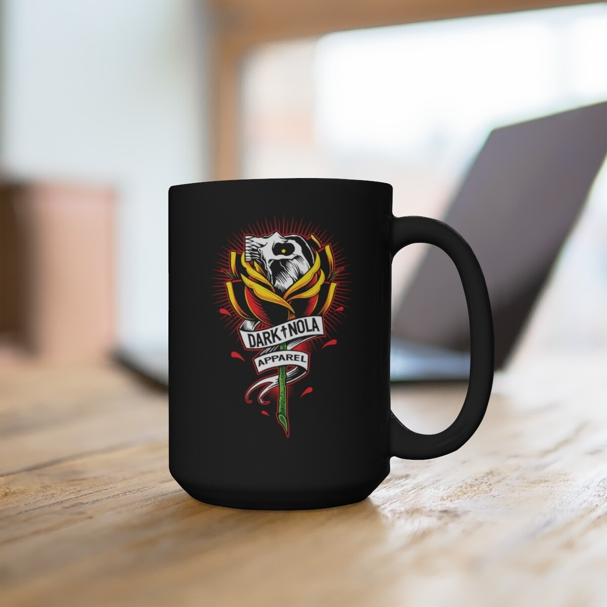 Rose Skull Black Mug 15oz