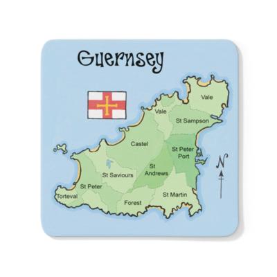 Guernsey Map Wood Coaster