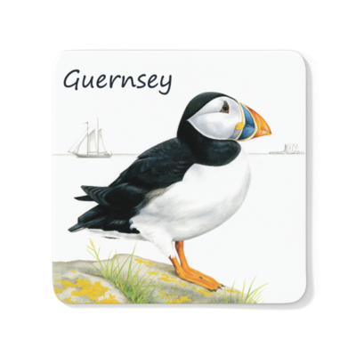 Standing Puffin Wood Coaster