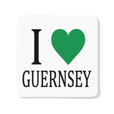 I Love Guernsey Wood Coaster