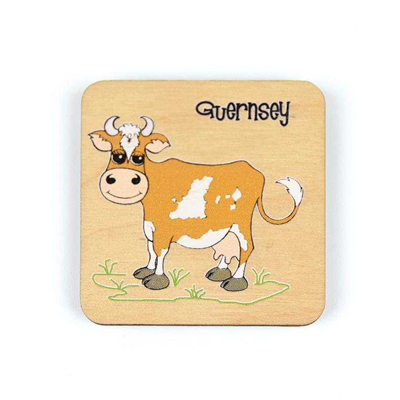 Cartoon Cow Side Wooden Magnet