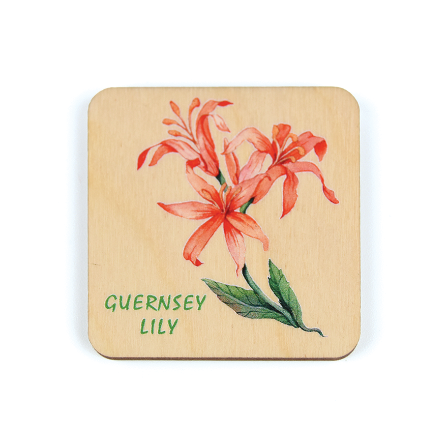 Nerine Lily Wooden Magnet