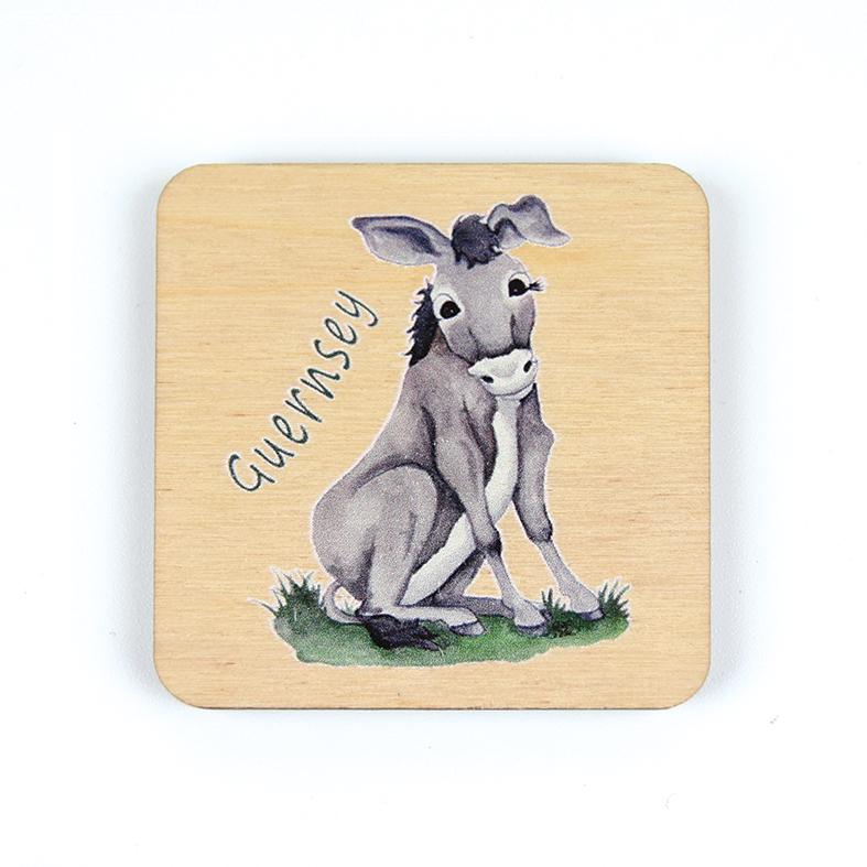 Sitting Donkey Wooden Magnet