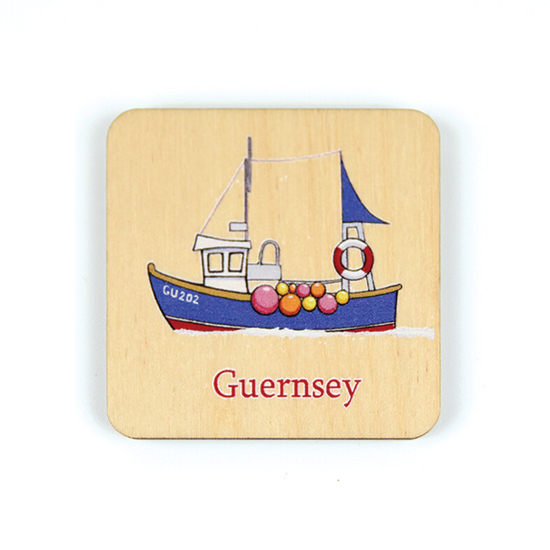 Fishing Boat Wooden Magnet