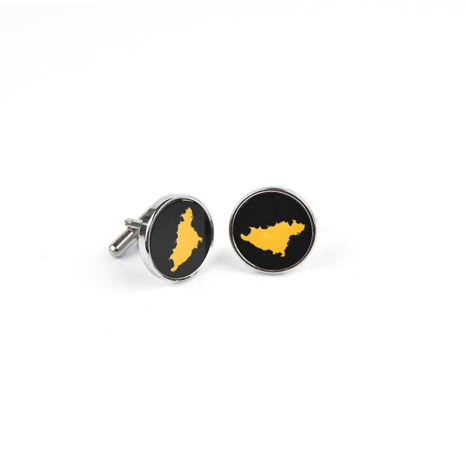 Black with yellow Map Cufflinks