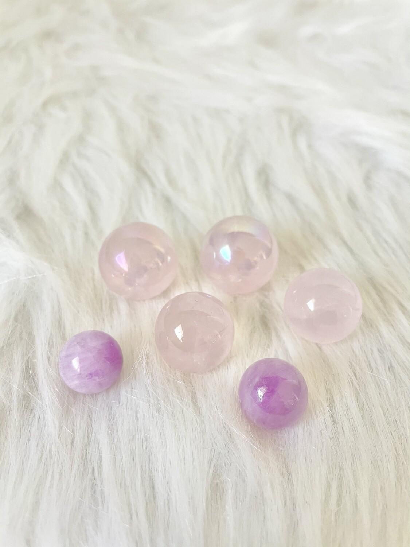 Bubblegum Balls Aura Rose Quartz Sphere