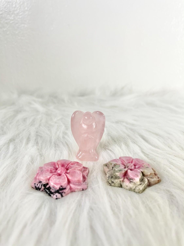 Love Garden Rhodonite Flower Carvings