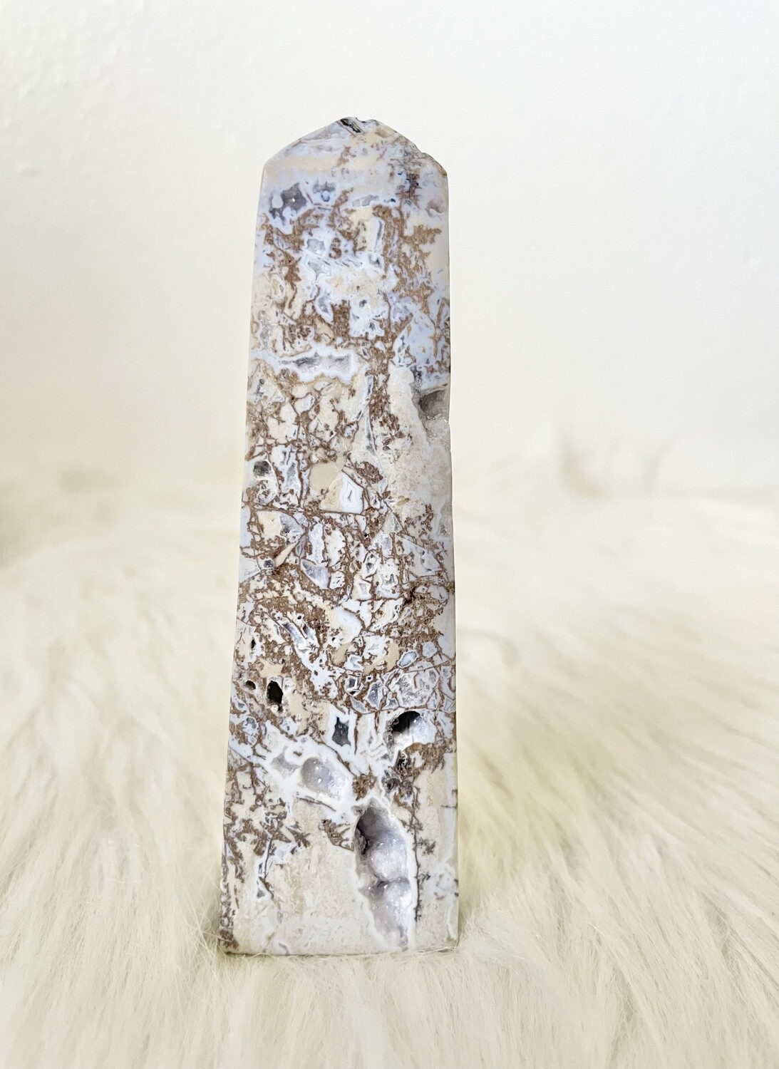 Mushroom Trails Blue Dendritic Agate Tower with Druzy