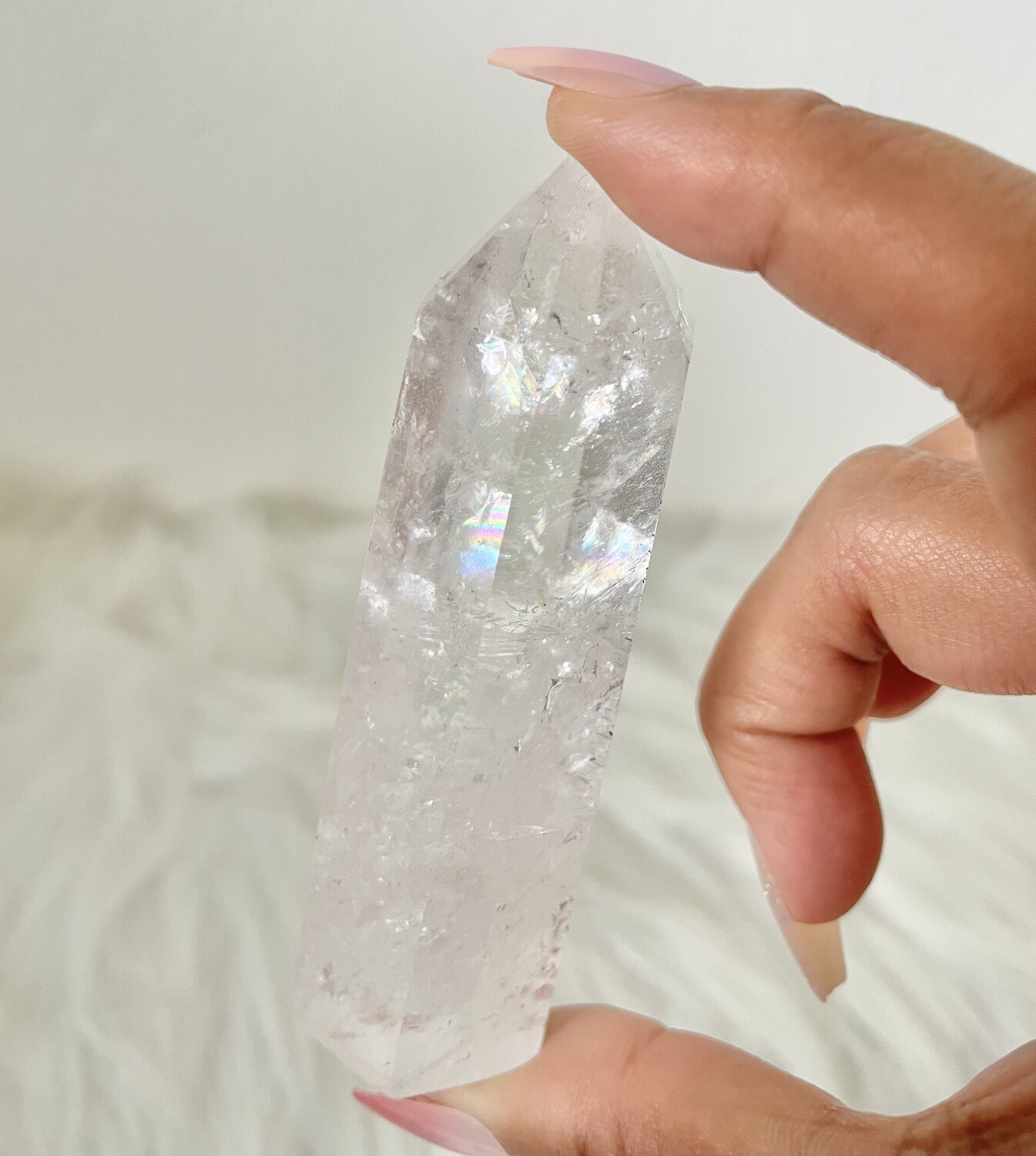 Godmother Wand Clear Quartz Tower with Rainbows
