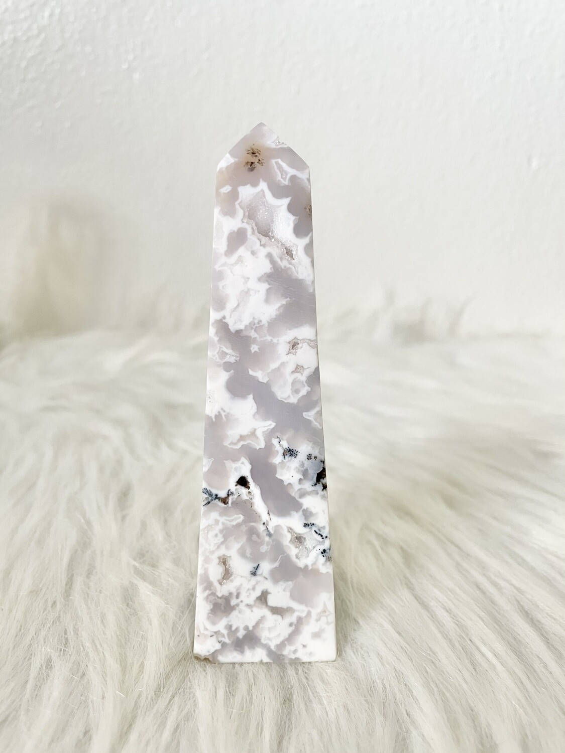 Pawprints White Lace Druzy Agate with Dendrites Tower