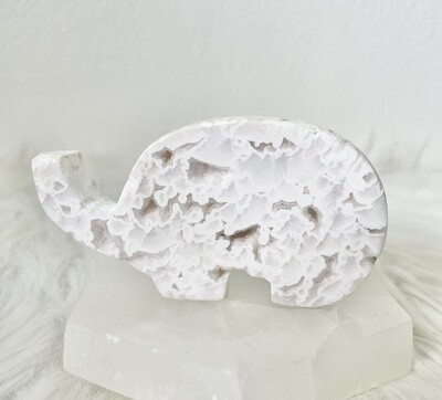 Jinju White Lace Druzy Agate Elephant Carving
