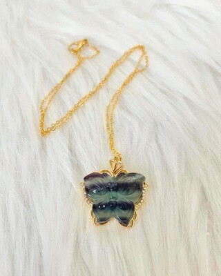 Fly Free Fluorite Butterfly Necklace