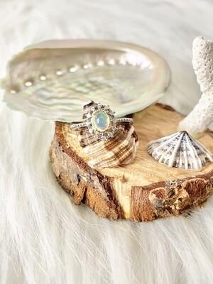 Glowing Sun Opal Ring