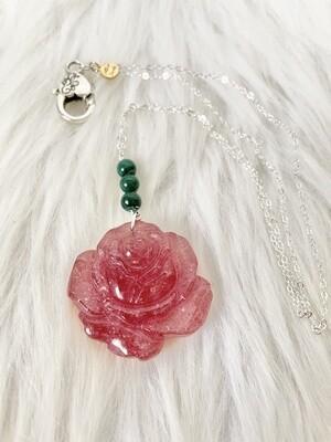 Rosa Red Aventurine & Malachite Necklace