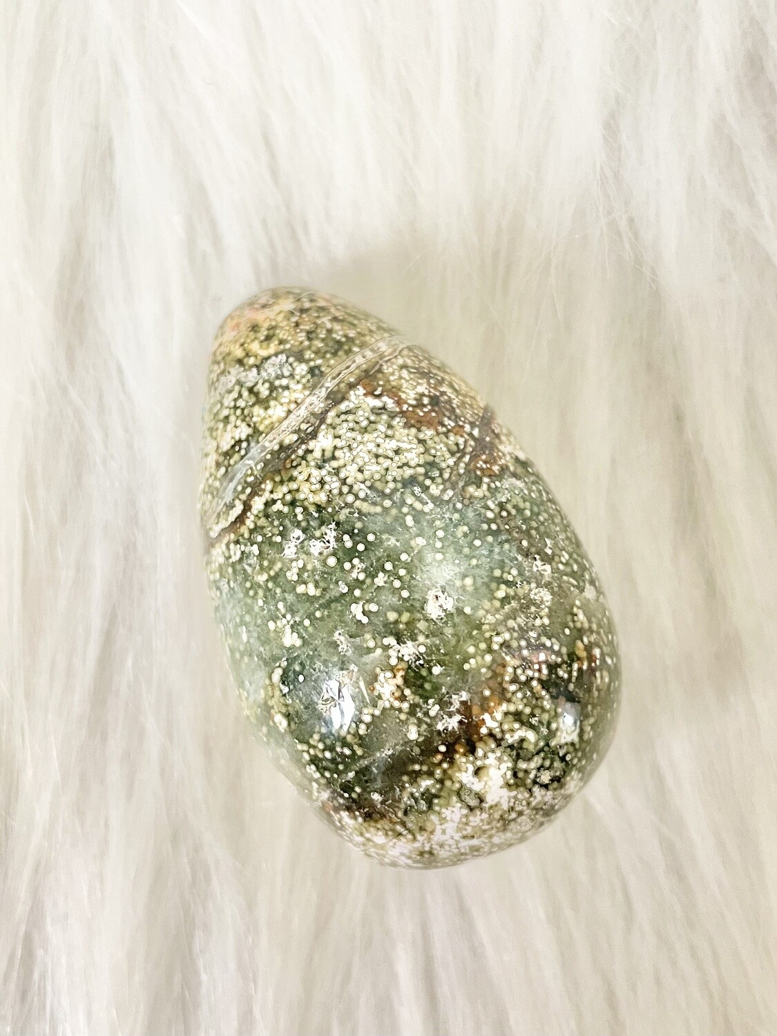 Butterfly Eggs River Jasper Palmstone with Druzy Caves