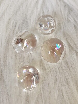 Rainbow Drops Clear Quartz Rainbow Spheres