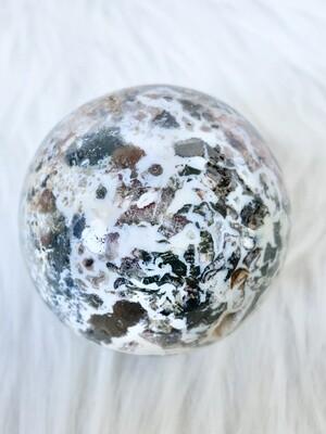 A Whole New World Brecciated Ocean Jasper Sphere