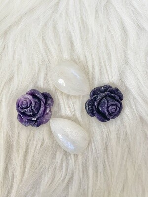 Glitzy Roses Lepidolite Rose and Moonstone Teardrops