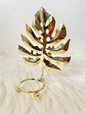 Gold Monstera Leaf Stand