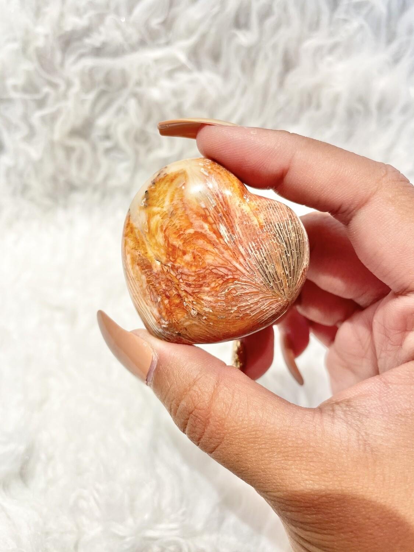 Orange Pop Coral Jasper Heart