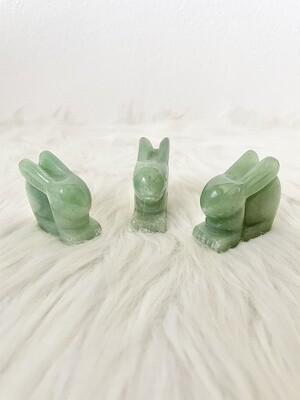 Rabbit Burrow Green Aventurine Rabbits