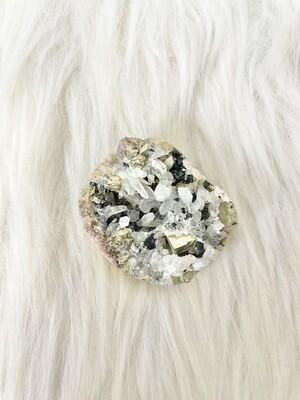 Rich Pyrite in Quartz Cluster