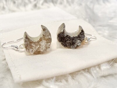 Chaste Moon Druzy Agate Earrings