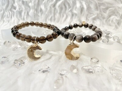Buck Moon Silver Sheen Obsidian & Smoky Quartz Bracelets