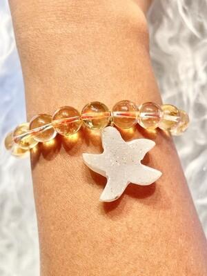 Golden Starfish Citrine Round Bracelet