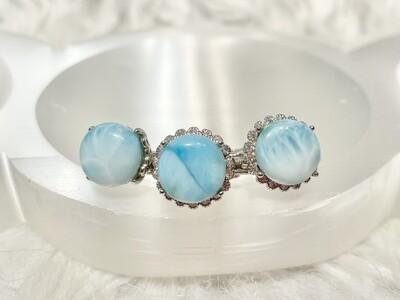 Caribbean Blue Round Larimar Rings
