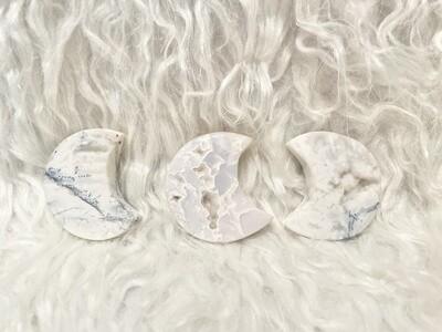 Moonwalk White Lace Agate Moons
