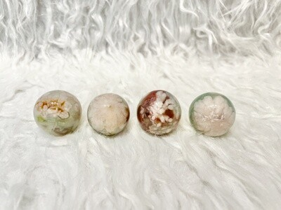 Blossoming Greens Green Flower Agate Spheres