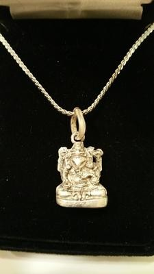 Beautiful Balinese Small Ganesh Design Blessed Silver Pendant On Chain