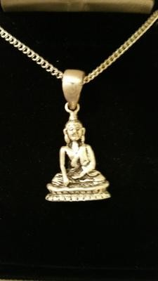 Beautiful Balinese Small Buddha Design Blessed Silver Pendant On Chain