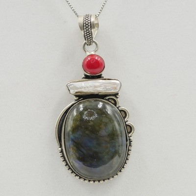 Labradorite, Pearl, and Red Coral Pendant