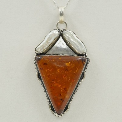 Amber with Pearl Pendant