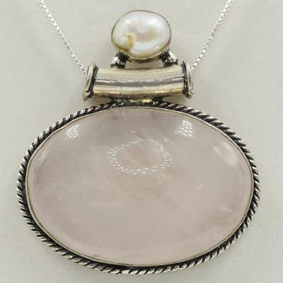 Rose Quartz with Pearl Pendant